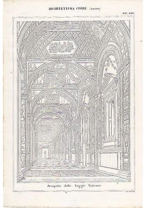 ARCHITETTURA CIVILE LOGGIE VATICANE INCISIONE STAMPA RAME 1866 TAVOLA ORIGINALE