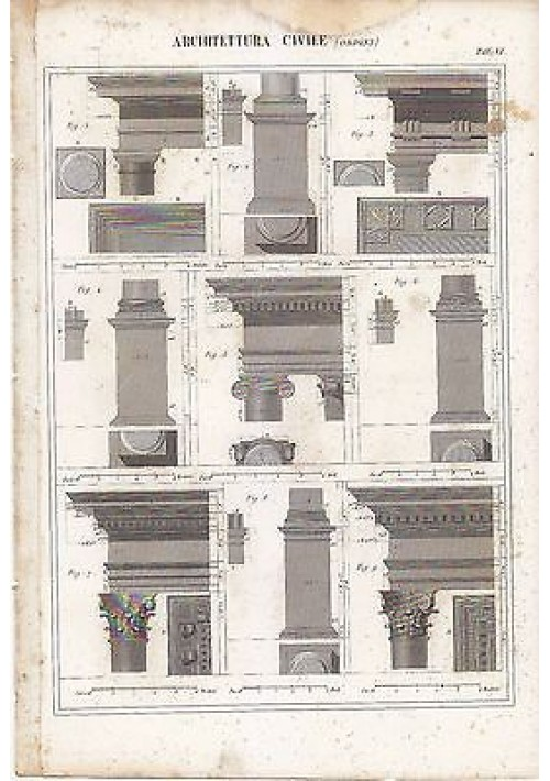 ARCHITETTURA CIVILE ORDINI INCISIONE STAMPA IN RAME 1866 TAVOLA ORIGINALE DORICO
