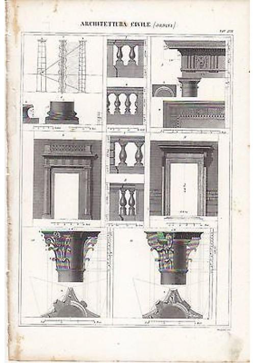 ARCHITETTURA CIVILE ORDINI PORTALI INCISIONE STAMPA RAME 1866 ORIGINALE