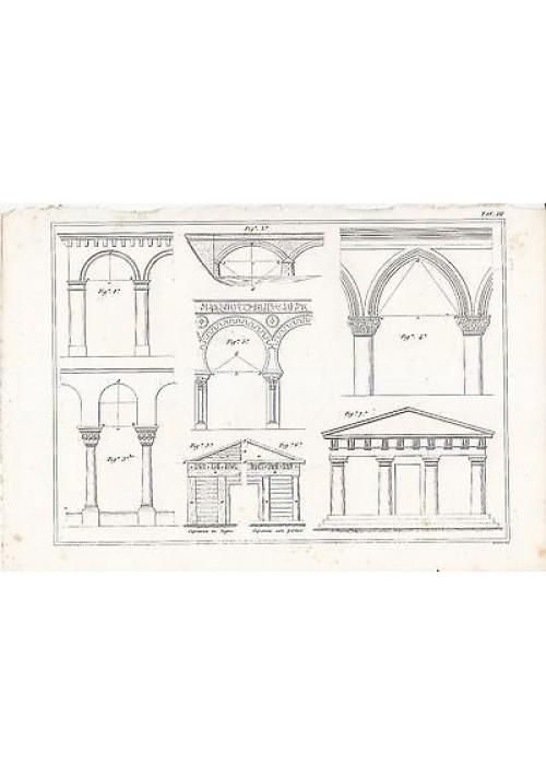ARCHITETTURA CIVILE PORTICO INCISIONE STAMPA IN RAME 1866 TAVOLA ORIGINALE