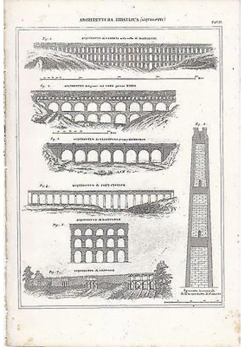 ARCHITETTURA IDRAULICA ACQUEDOTTI INCISIONE STAMPA RAME 1866 TAVOLA CASERTA GARD