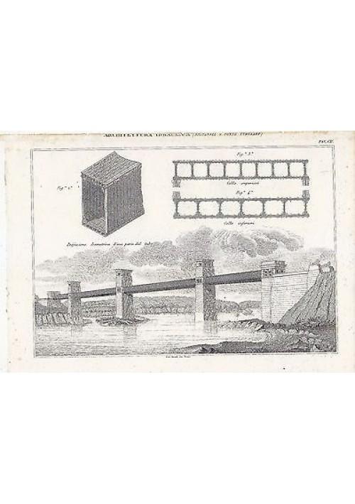 ARCHITETTURA IDRAULICA BRITANNIA E PONTE INCISIONE STAMPA RAME 1866 TAVOLA