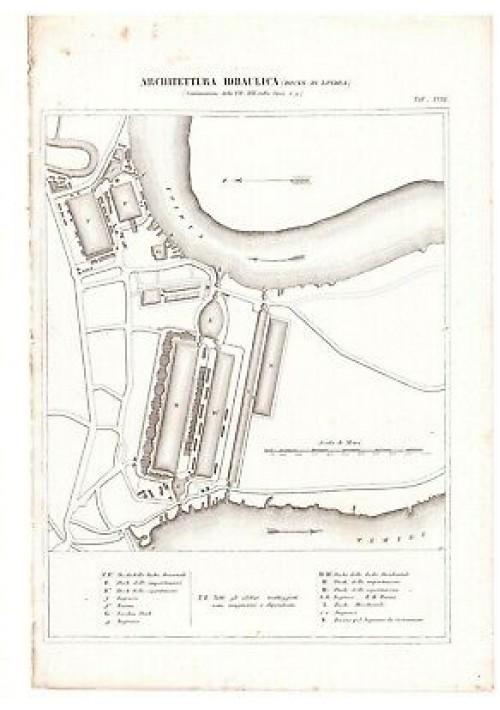 ARCHITETTURA IDRAULICA DOCKS DI LONDRA TAV.18 INCISIONE STAMPA RAME 1866