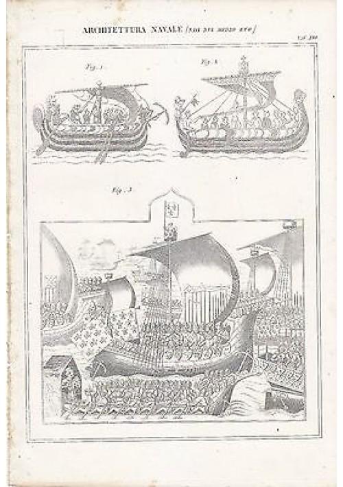 ARCHITETTURA NAVALE NAVI MEDIO EVO INCISIONE STAMPA RAME 1866 TAVOLA ORIGINALE