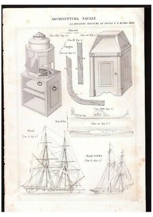 ARCHITETTURA NAVALE gondola brick goletta chiesola INCISIONE STAMPA RAME 1866