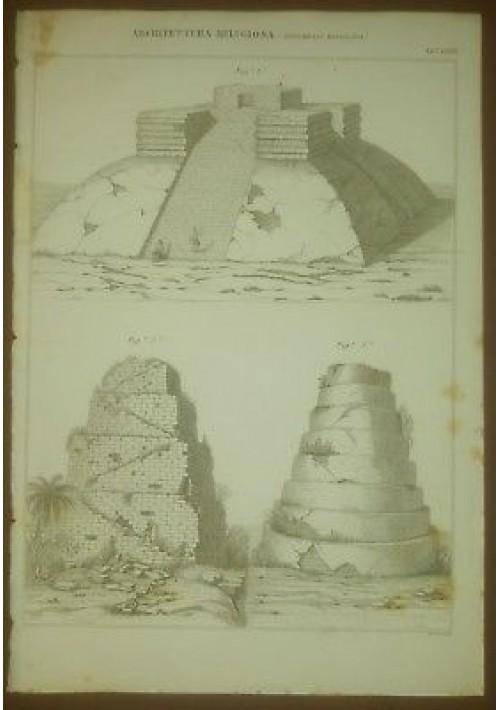 ARCHITETTURA RELIGIOSA MONUMENTI MESSICANI TAVOLA  INCISIONE STAMPA RAME 1866