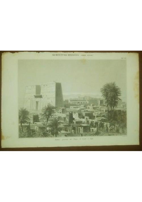 ARCHITETTURA RELIGIOSA TEMPIO AROERI A EDFU' TAVOLA  INCISIONE STAMPA RAME 1866