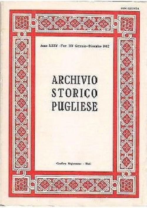 ARCHIVIO STORICO PUGLIESE ANNO XXXV fasc. 1 – 4