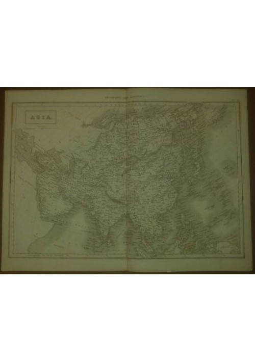 ASIA CARTA GEOGRAFICA ORIGINALE 1866  INCISIONE STAMPA RAME TAVOLA MAPPA