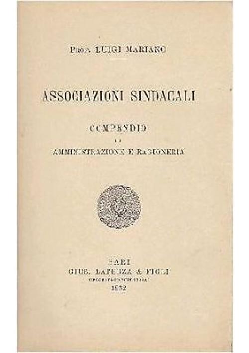 ASSOCIAZIONI SINDACALI compendio di amministrazione e ragioneria di Mariano 1932