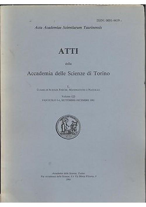 ATTI DELL'ACCADEMIA DELLE SCIENZE DI TORINO volume 125 fascicolo sett. dic. 1991