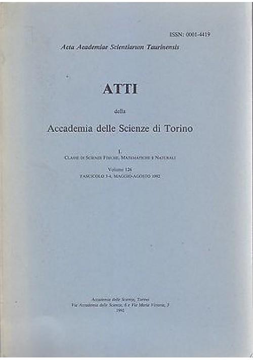 ATTI DELL'ACCADEMIA DELLE SCIENZE DI TORINO volume 126 fascicolo mag ago 1992