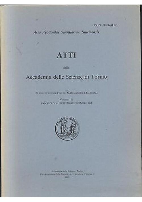 ATTI DELL'ACCADEMIA DELLE SCIENZE DI TORINO volume 126 sett. dic. 1992