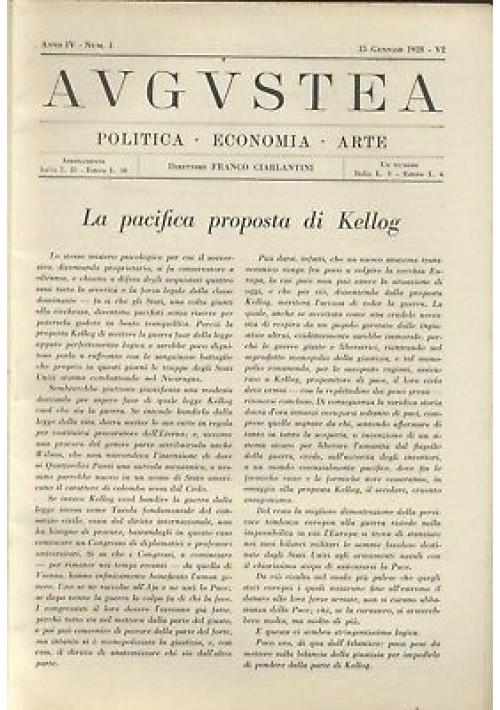 AUGUSTEA RIVISTA politica economia arte anno IV n.1 15 gennaio 1928 fascismo