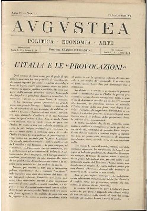 AUGUSTEA RIVISTA politica economia arte anno IV n.13 15 luglio 1928 fascismo