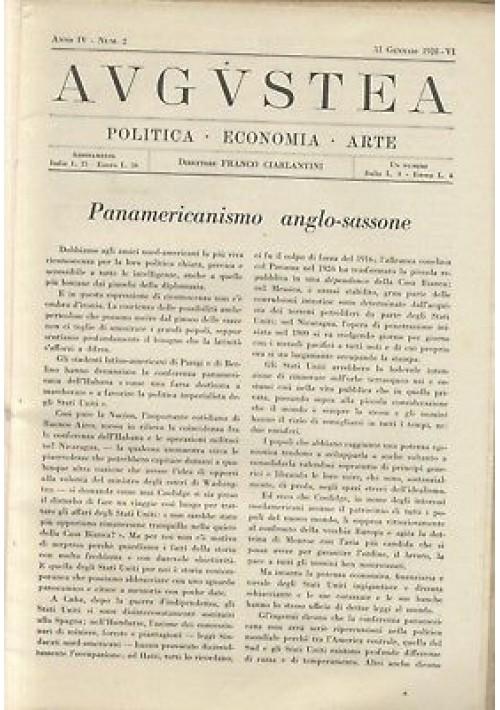 AUGUSTEA RIVISTA politica economia arte anno IV n.2 31 gennaio 1928 fascismo