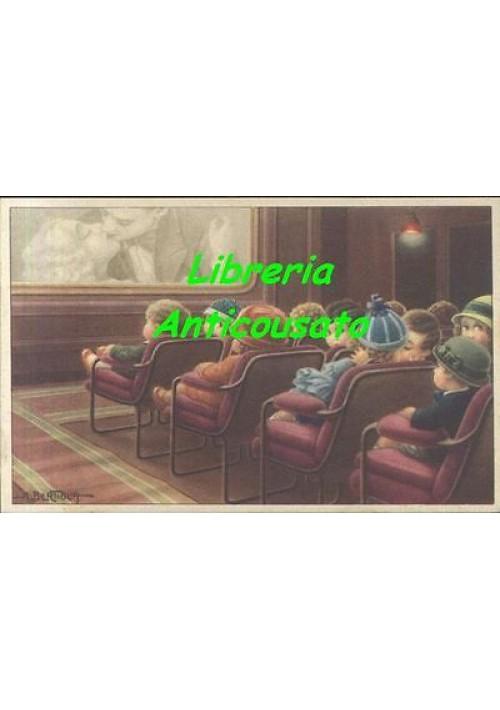 AURELIO BERTIGLIA - BAMBINI CINEMA BACIO - cartolina ILLUSTRATA  serie 502
