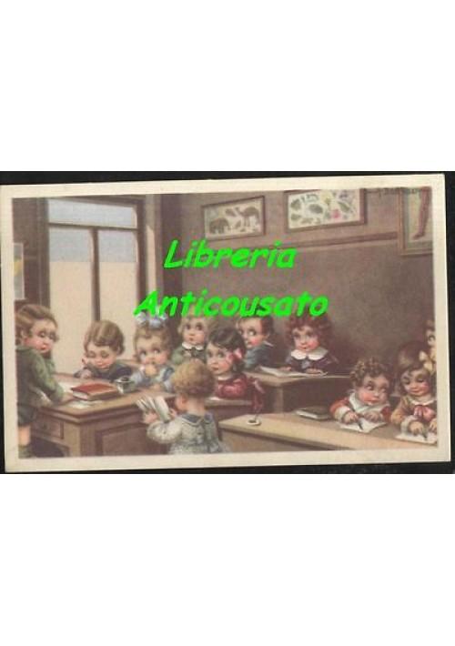 AURELIO BERTIGLIA - BAMBINI SCUOLA- cartolina ILLUSTRATA non viaggiata ORIGINALE