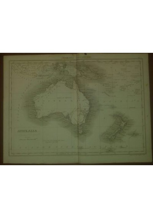 AUSTRALIA CARTA GEOGRAFICA ORIGINALE 1866  INCISIONE STAMPA RAME TAVOLA OCEANIA