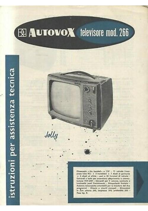 AUTOVOX televisore mod 266 istruzioni assistenza tecnica schemi circuiti stampat