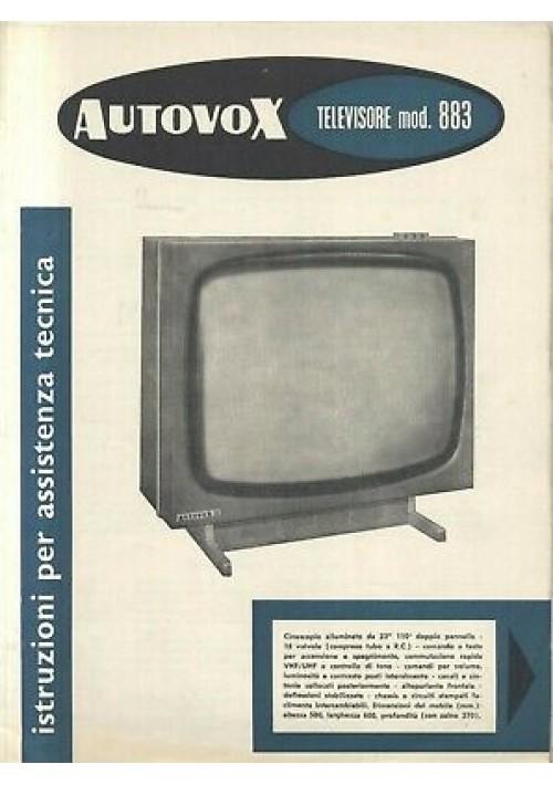 AUTOVOX televisore mod 883 istruzioni assistenza tecnica schemi circuiti stampat