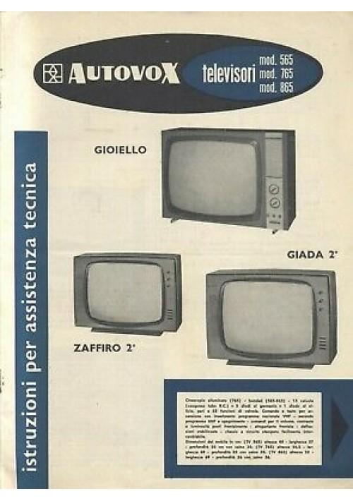 AUTOVOX televisori 565 765 865 istruzioni assistenza tecnica schemi circuiti