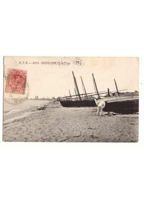 BADALONA en la playa tarjeta postal cartolina viaggiata 1916