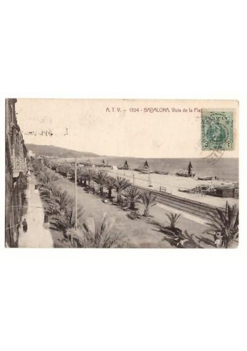 BADALONA vista de la playa tarjeta postal cartolina viaggiata 1916