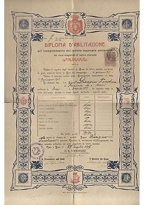 BARI 1907 DIPLOMA DI ABILITAZIONE ALL'INSEGNAMENTO LAVORO MANUALE SCOLASTICO