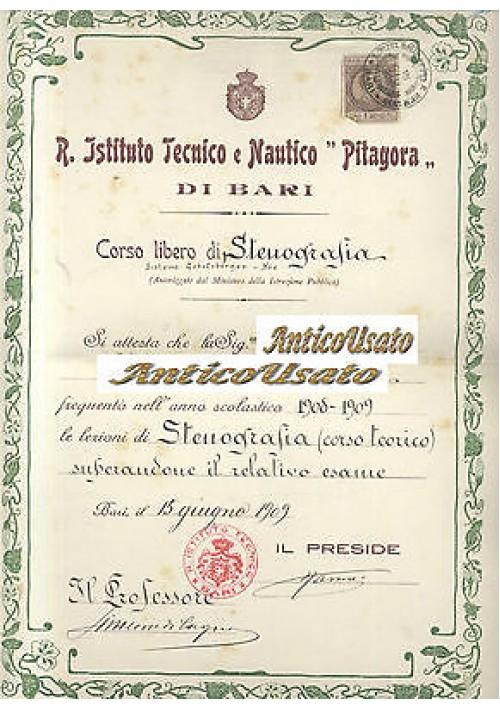 BARI - ISTITUTO TECNICO NAUTICO PITAGORA 1909 ORIGINALE DIPLOMA STENOGRAFIA