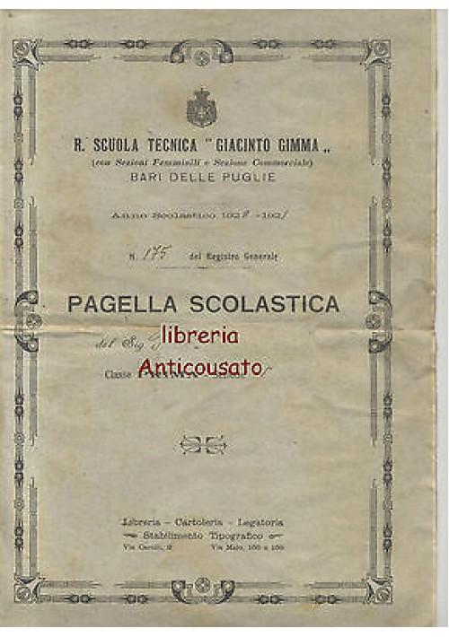 BARI PAGELLA SCOLASTCA SCUOLA TECNICA GIACINTO GIMMA 1920 - 1921 ORIGINALE