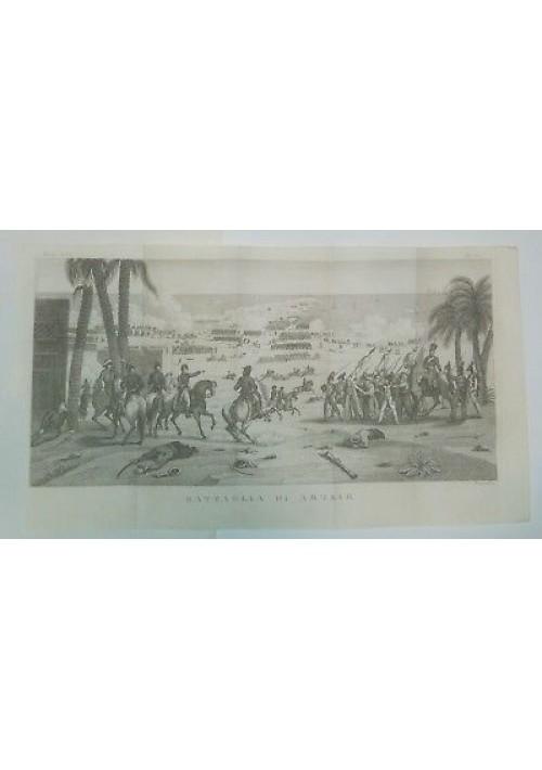 BATTAGLIA DI ABUKIR Norvins Napoleone INCISIONE STAMPA RAME  ANTICA 800 Piomanil