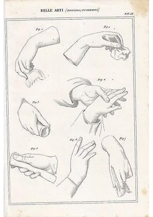 BELLE ARTI disegno estremità mani INCISIONE STAMPA RAME 1866 ORIGINALE