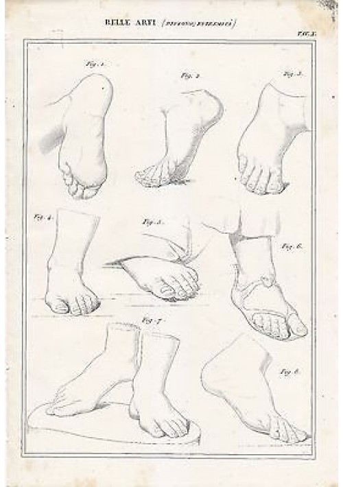BELLE ARTI disegno estremità piedi INCISIONE STAMPA RAME 1866 ORIGINALE