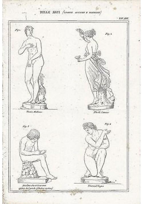 BELLE ARTI statue antiche Venere Ebe Canova INCISIONE STAMPA RAME 1866 ORIGINALE