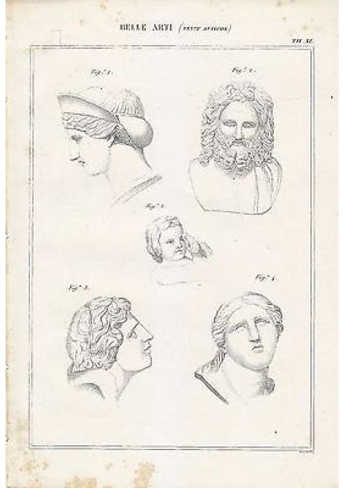BELLE ARTI statue antiche teste antiche INCISIONE STAMPA RAME 1866 ORIGINALE