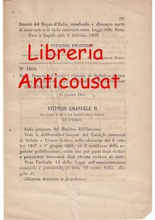 BELLEDO E CHIUSO RIUNITI IN UNO SOLO - REGIO DECRETO 1869 - BORGATA MAGGIANICO