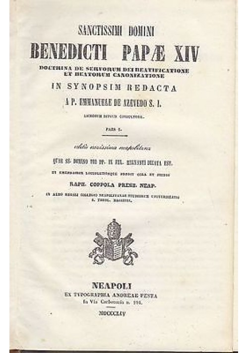 BENEDICTI PAPAE XIV Doctrina De Servorum Dei Beatificatione - De Azevedo 1854