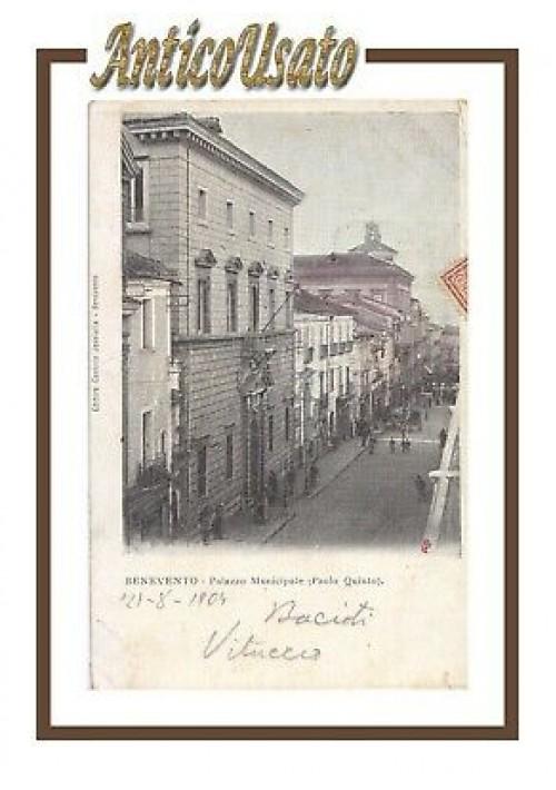 BENEVENTO Palazzo Municipale Paolo Quinto Cartolina Viaggiata 1904 postcard