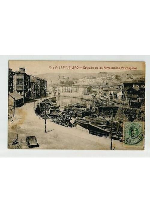 BILBAO ESTACIÓN DE LOS FERROCARRILES VASCONGADOS viaggiata 1916 tarjeta cartolin