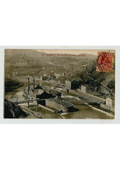 BILBAO Isla de san Cristobal La Pena viaggiata 1916 tarjeta cartolina postale
