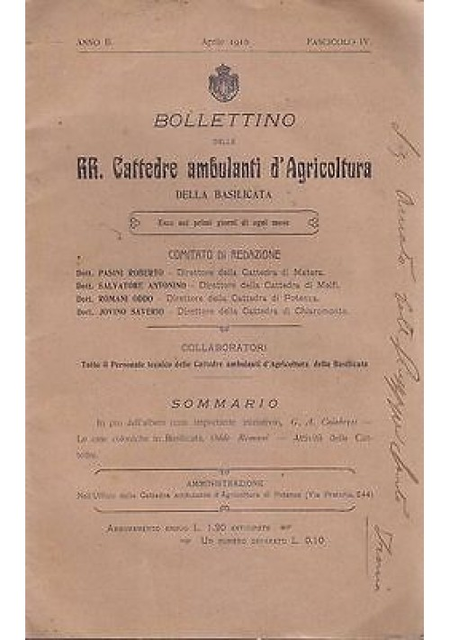 BOLLETTINO DELLE RR. CATTEDRE AMBULANTI DI AGRICOLTURA DELLA BASILICATA - 1910