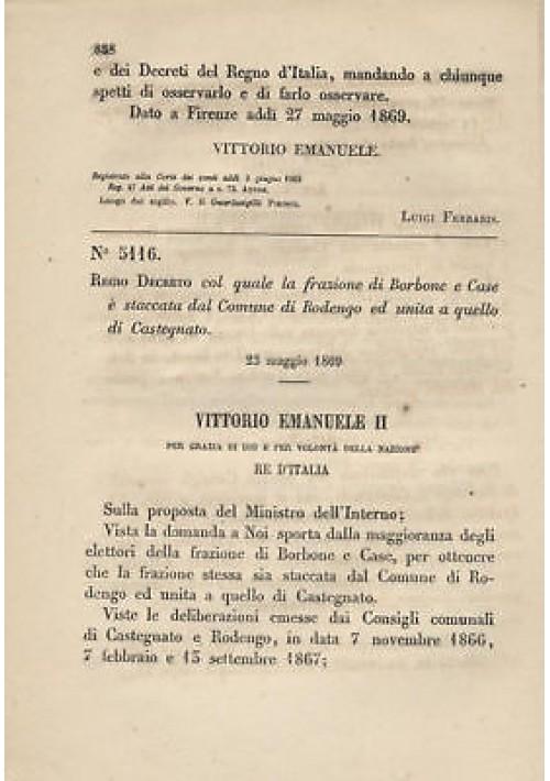 BORBONE E CASE - REGIO DECRETO 1869  RODENGO CASTAGNETO