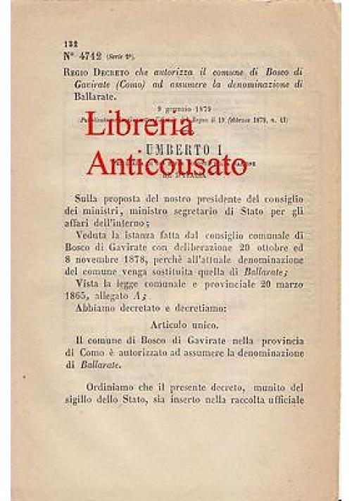BOSCO DI GAVIRATE (COMO) - REGIO DECRETO 1879 - NUOVA DENOMINAZIONE BALLARATE