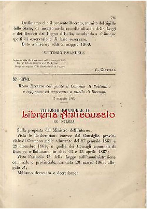 BOTTAIANO SOPPRESSO  REGIO DECRETO 1869 AGGREGATO RICENGO (CREMONA) originale