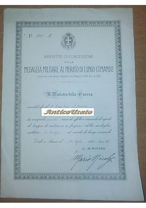 BREVETTO MILITARE MERITO DI LUNGO COMANDO 1936 FANTERIA 15 ANNI DIPLOMA  TRUPPA
