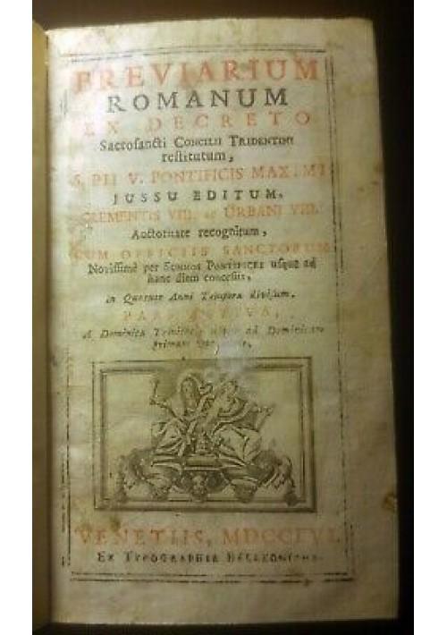 BREVIARIUM ROMANUM 4 volumi 1756 pars hiemalis aestivo autumnalis verna Pio V  *