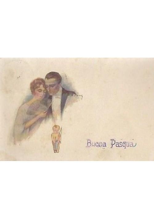 BUONA PASQUA A COLORI VIAGGIATA 11/04/1922 ORIGINALE D'EPOC BELLISSIMA CARTOLINA
