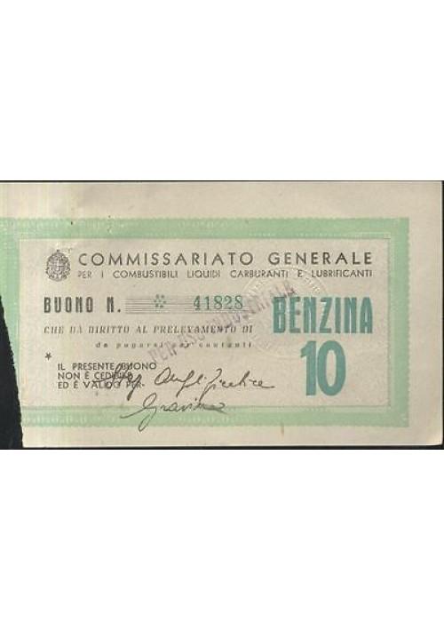 BUONO BENZINA DA 10 LIRE aprile 1943 commisariato generale per i combustibili