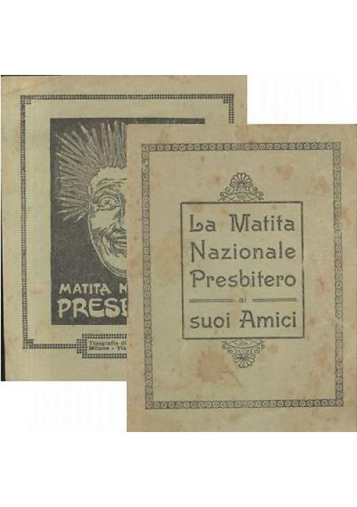 CALENDARIO SCOLASTICO NOZIONI DI CALCOLO PRESBITERO 1926 libricino pubblicitario
